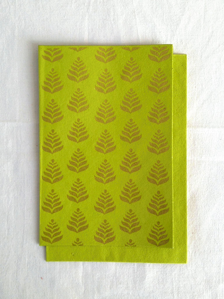 Hand Block Printed Gold Stamped Cards made with Handmade Paper | Fern Motif | Chartreuse Lime | An Indian Summer