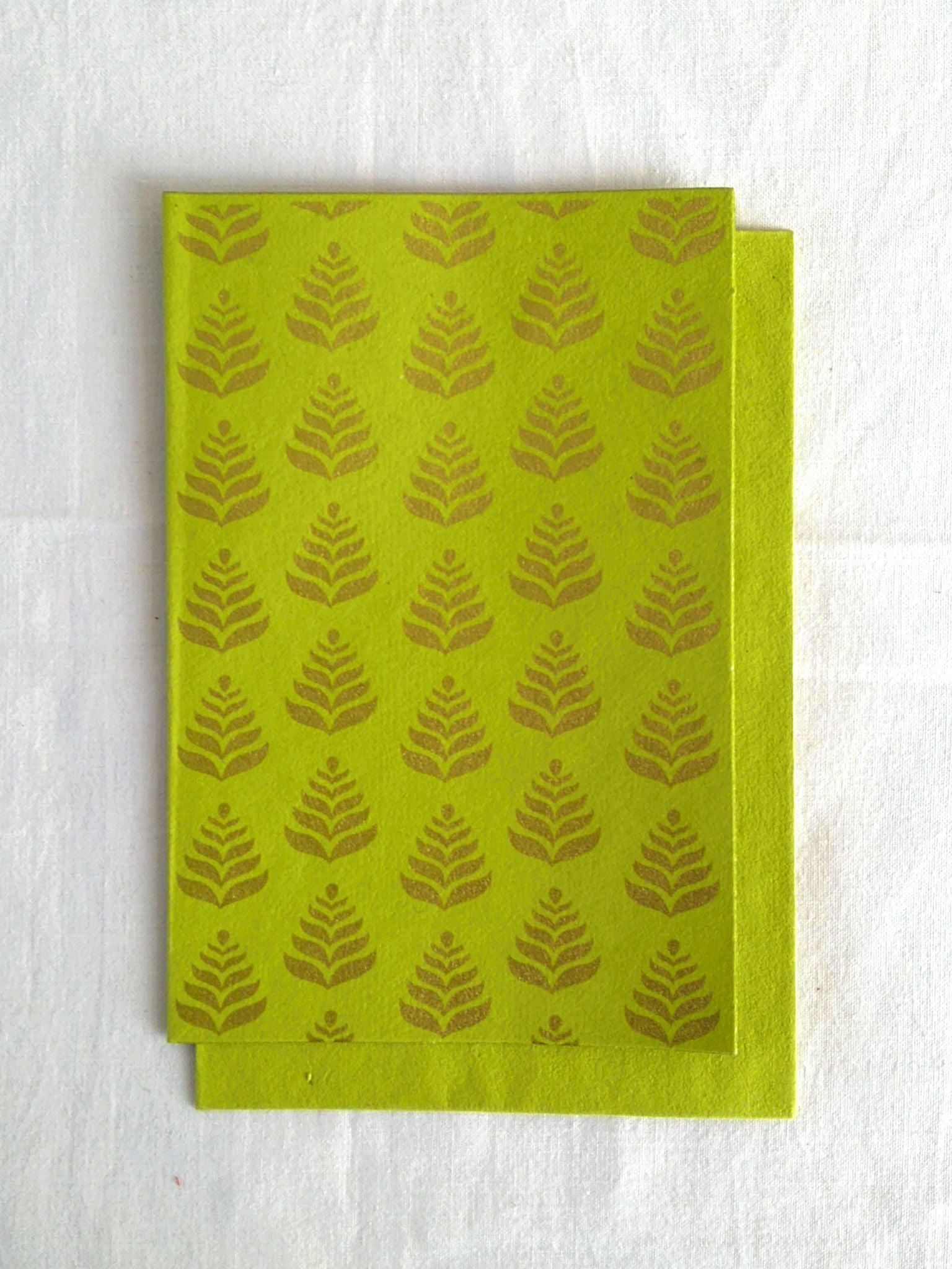 Chartreuse Lime - Set of 5 Gold Fern Motif Hand Block Printed Cards - An Indian Summer