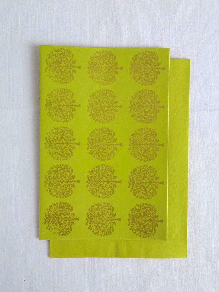 Hand Block Printed Gold Stamped Cards made with Handmade Paper | Tree Motif | Chartreuse Lime | An Indian Summer