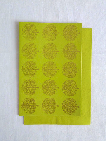 Chartreuse Lime - Set of 5 Gold Tree Motif Hand Block Printed Cards - An Indian Summer