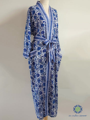 Long Kimono Robe | Chinoiserie | Shades of Blue | Floral Block Print | Hand Block Printed | Cotton Voile | An Indian Summer | Seasonless Timeless Sustainable Ethical Authentic Artisan Conscious Clothing Lifestyle Brand