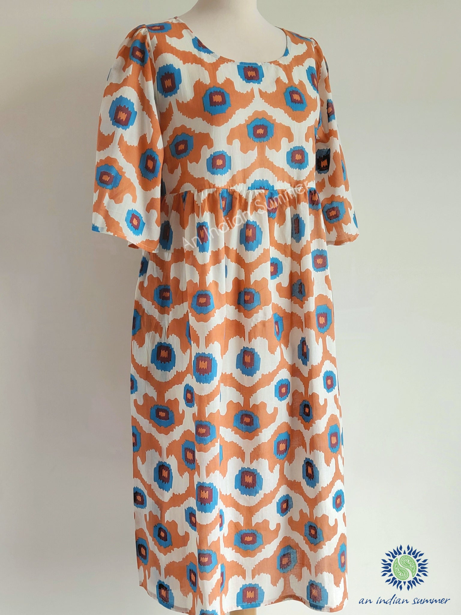 Oversized Market Dress Ikat Apricot Comfy easy-fit lightweight cotton dress with Two deep pockets An Indian Summer Timeless Sustainable Ethical Authentic Artisan Clothing Brand
