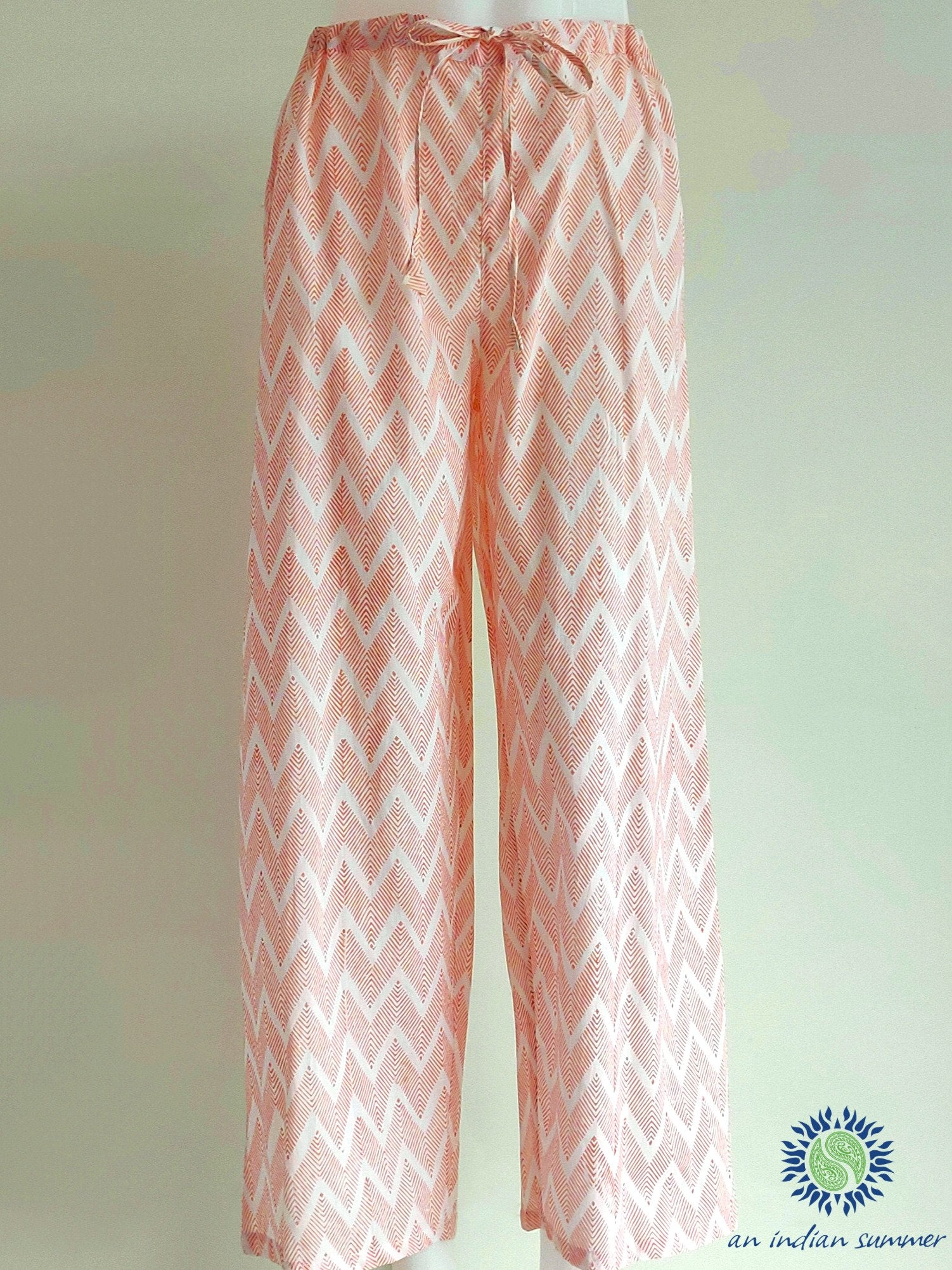 Coral Chevron Trousers | Hand Block Printed | Soft Cotton Voile | An Indian Summer