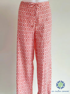 Coral Diamond Trousers | Hand Block Printed | Soft Cotton Voile | An Indian Summer