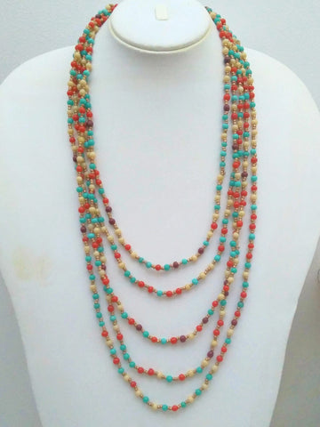 Coral & Turquoise Beads Layered Necklace