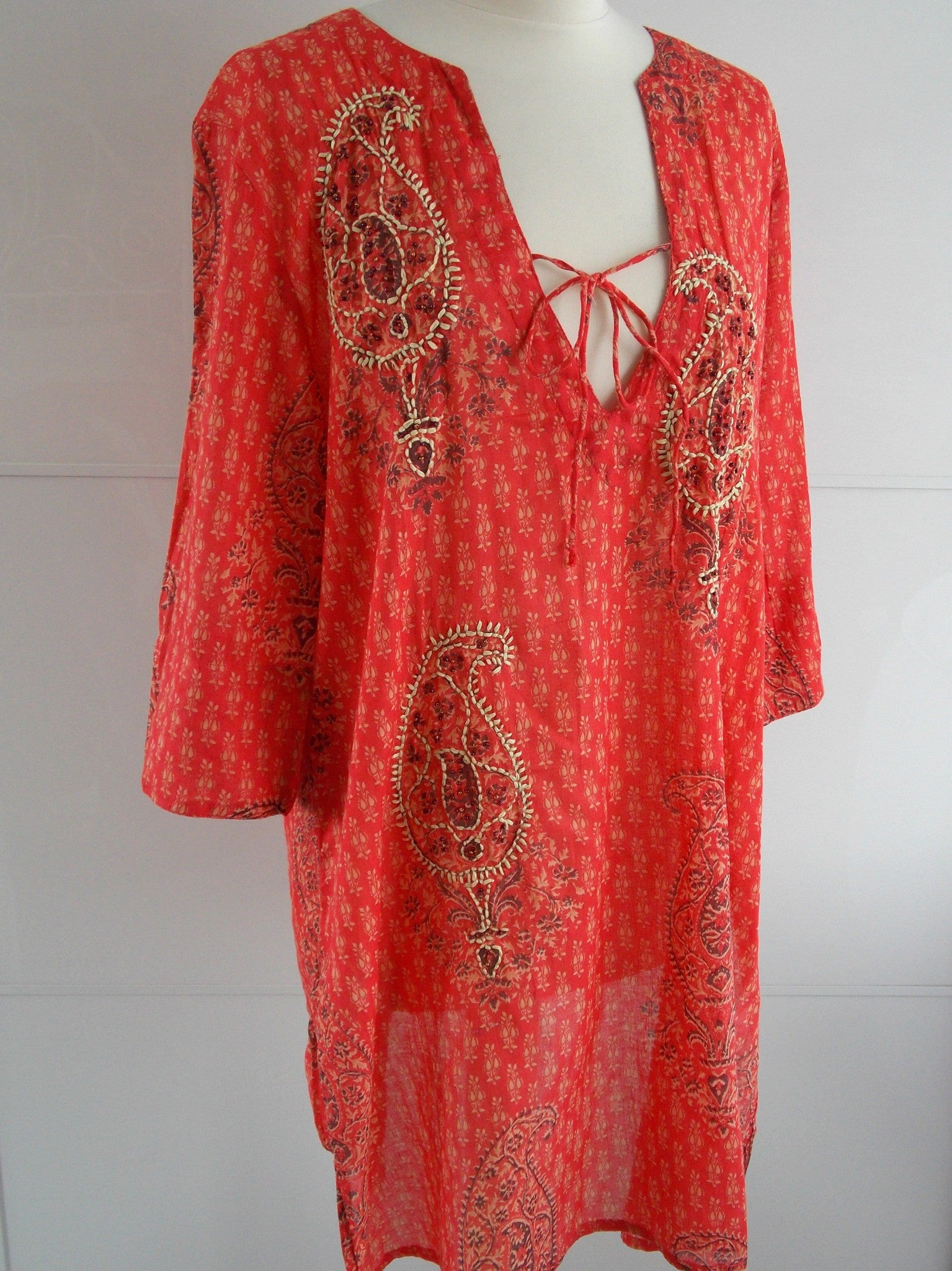 Paisley Embroidered Tunic - Orange - An Indian Summer