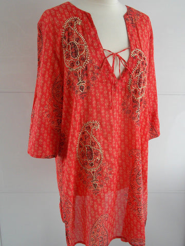 Paisley Embroidered Tunic - Orange