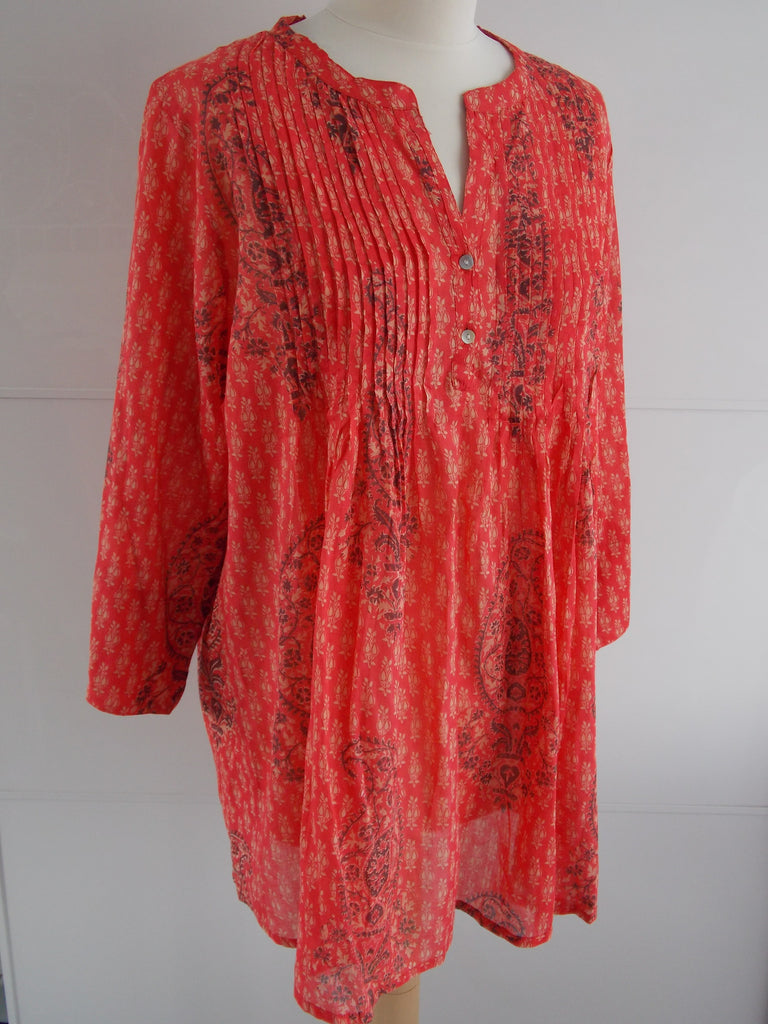 Paisley Pintuck Top - Orange - An Indian Summer