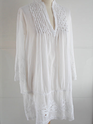 Persephone Cut Out Lace White Tunic - An Indian Summer