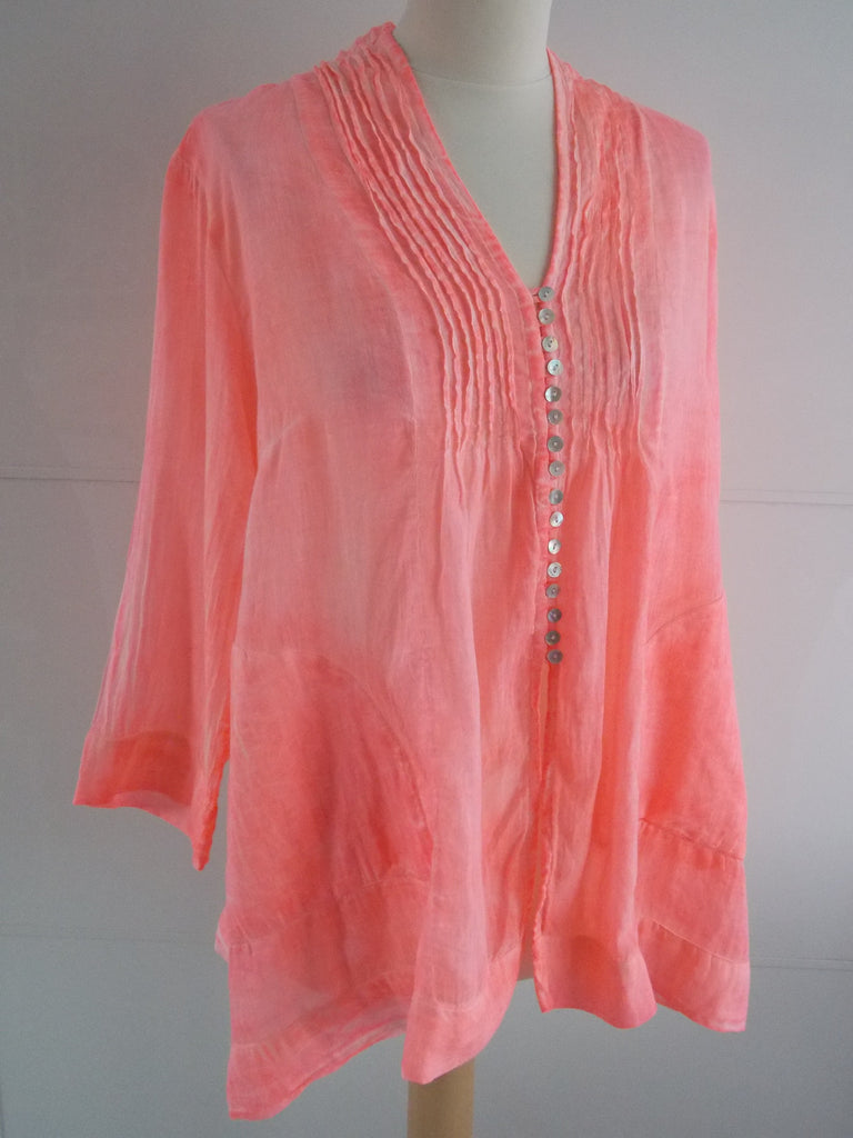 Neon Coral Top | Mother of Pearl Buttons | Cotton | An Indian Summer