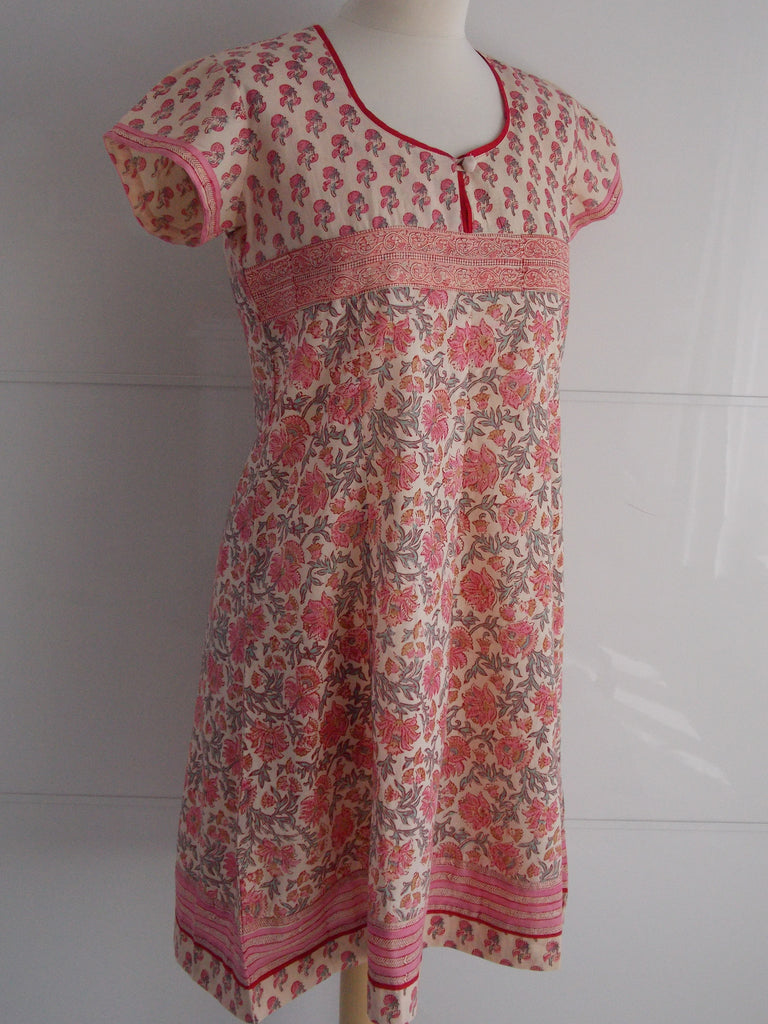 Tulika Dress Peach & Pink | Hand Block Printed Floral Prints | Cotton | An Indian Summer
