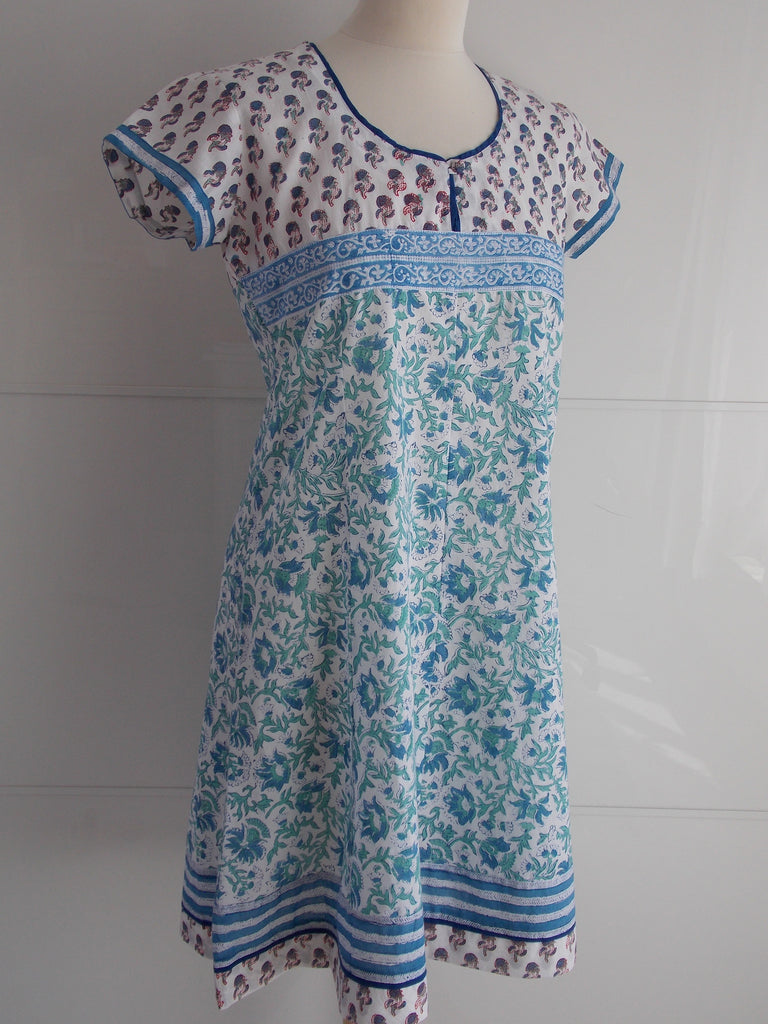 Tulika Dress - Blue & White - An Indian Summer