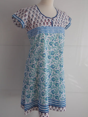 Tulika Dress - Blue & White