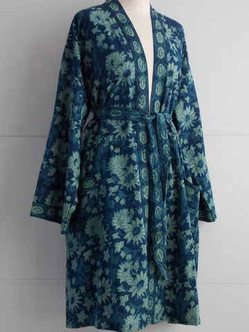 Indigo Dyed Kimono Robe - Sunflowers Block Print - An Indian Summer