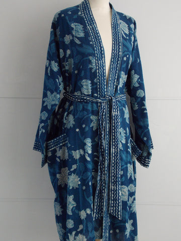 Indigo Dyed Kimono Robe - Tulips Block Print - An Indian Summer