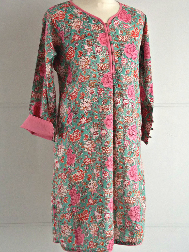 Amelia Tunic - Floral Hand Block Printed - Roses - Cotton - An Indian Summer