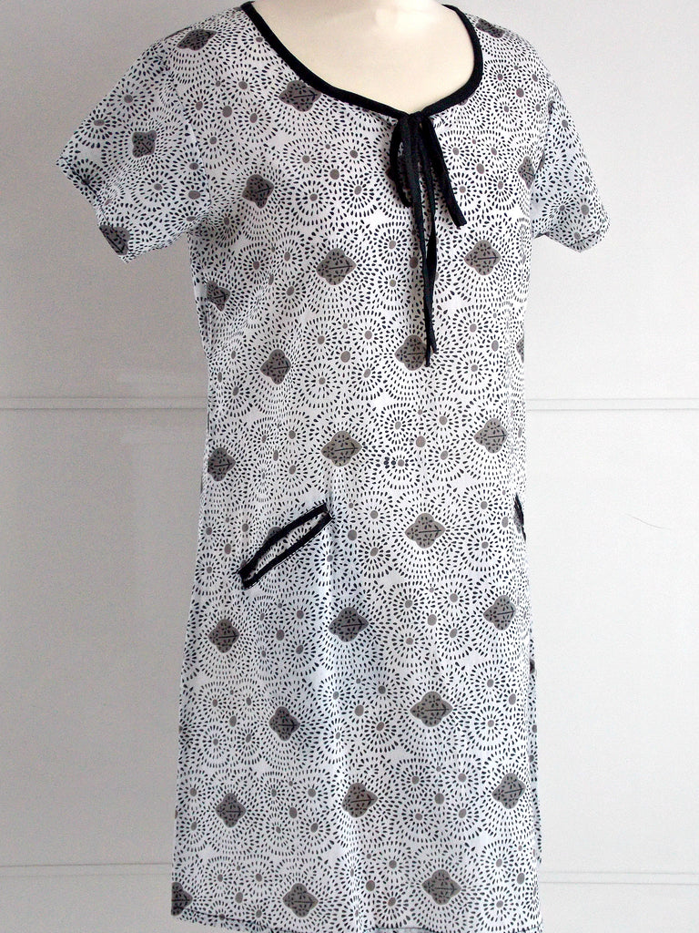 Molly Tunic Dress Grey Black | Hand Block Printed | An Indian Summer