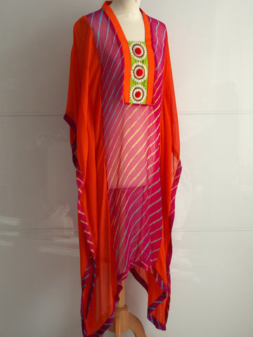 Anaya Kaftan - Fuchsia & Orange