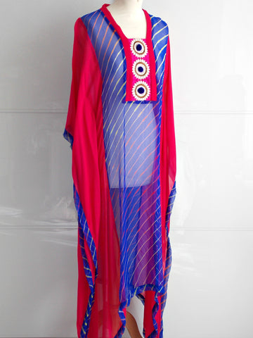 Anaya Kaftan - Blue & Pink - An Indian Summer