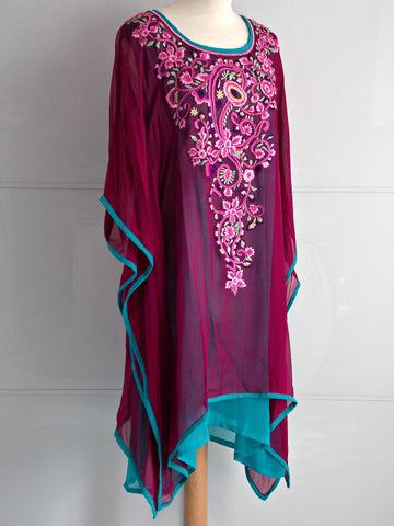 Lyra Kaftan - Magenta & Blue - An Indian Summer