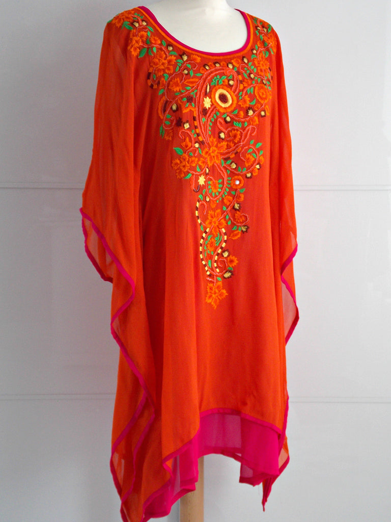 Lyra Embroidered Kaftan - Orange & Pink - An Indian Summer