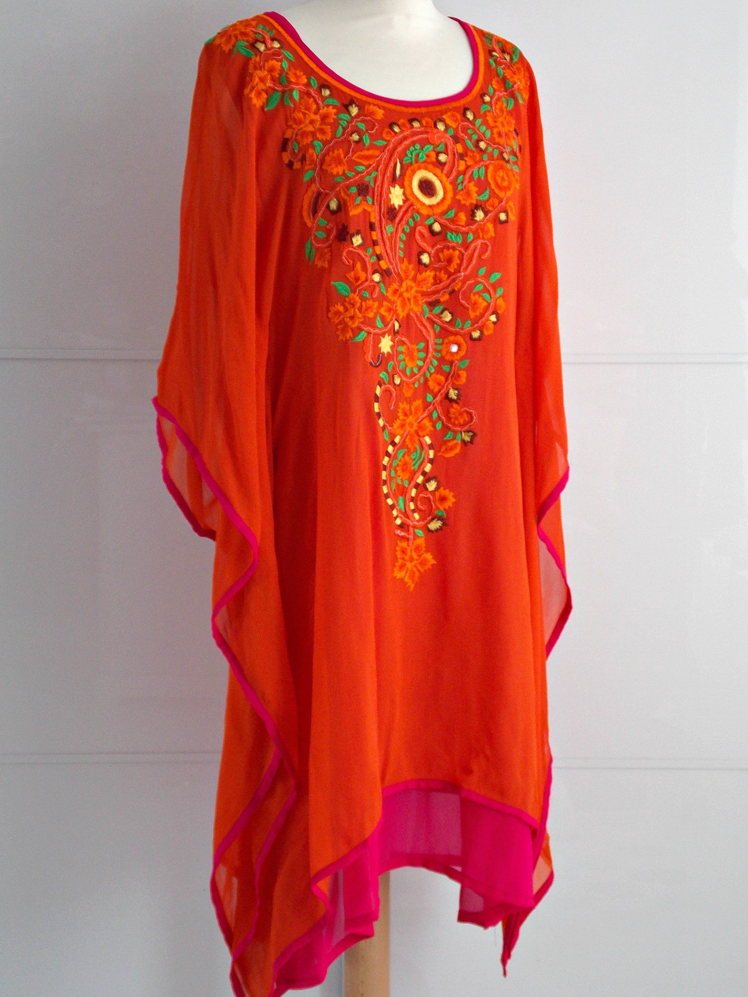 Lyra Kaftan - Orange & Pink - An Indian Summer
