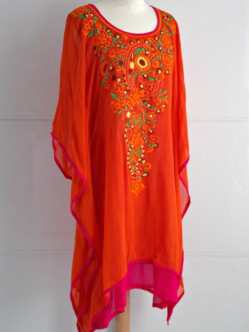 Lyra Kaftan - Orange & Pink