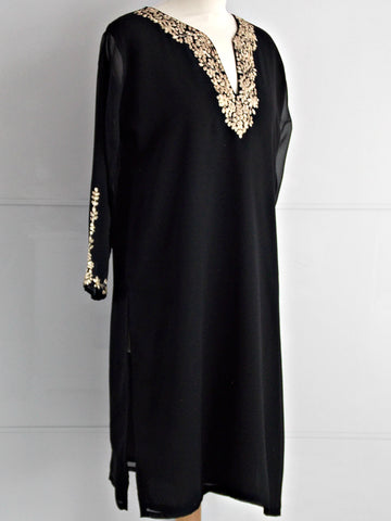 Olivia Tunic - Black & Gold - An Indian Summer