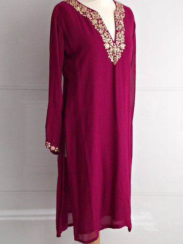 Olivia Tunic - Magenta & Gold - An Indian Summer