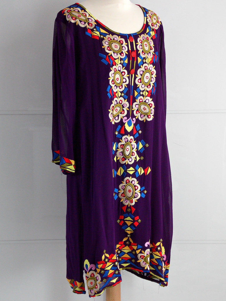 Zoe Embroidered Dress - Purple - An Indian Summer