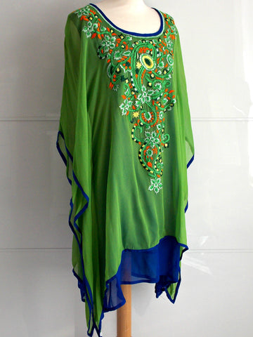 Lyra Kaftan - Green & Blue