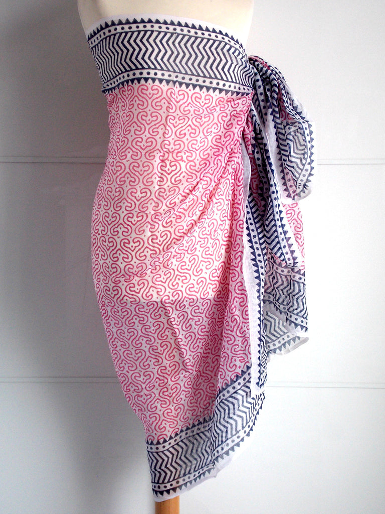 Keya Sarong - Pink & Grey - An Indian Summer