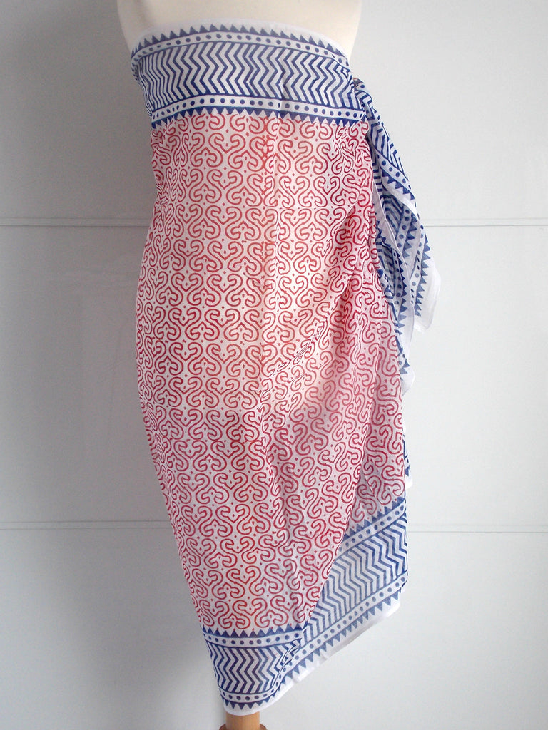 Keya Sarong - Red & Blue - an indian summer