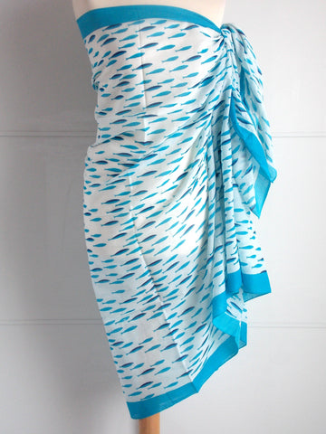 Fish Sarong - Turquoise & Blue