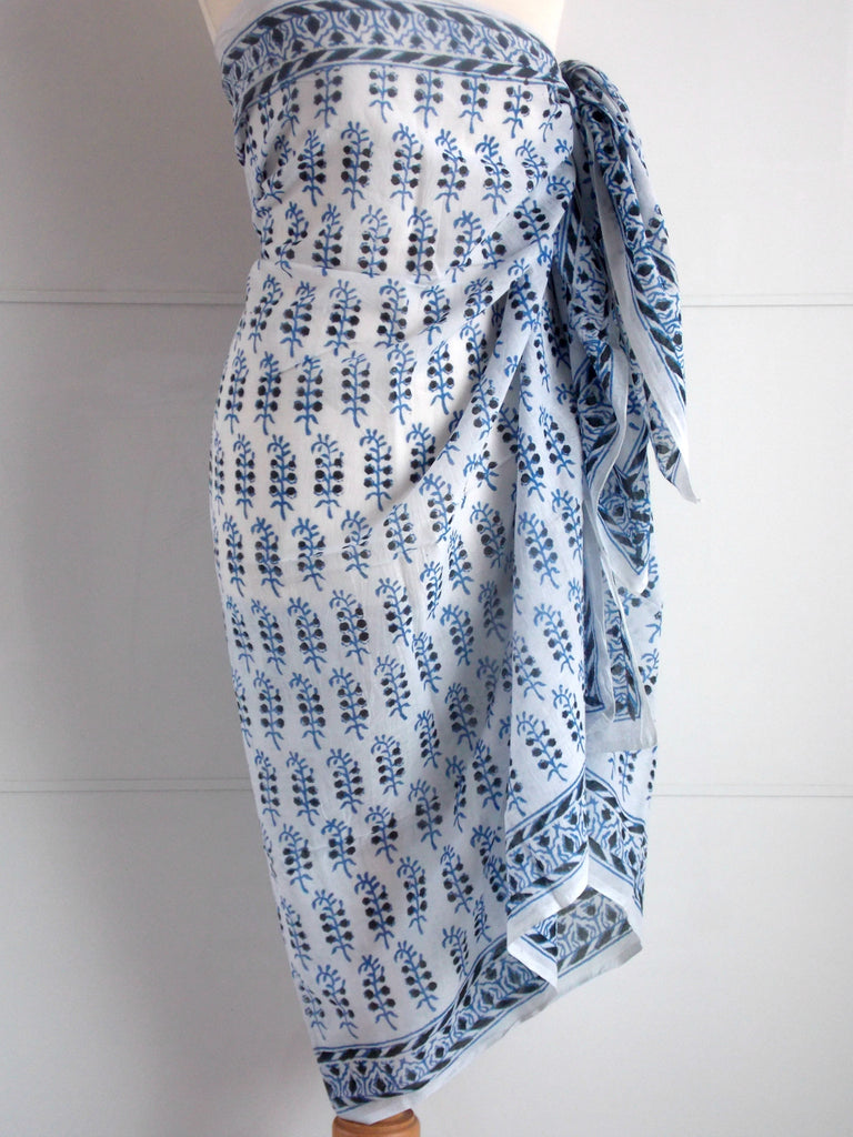 Tuberose Sarong - Blue & Black - Hand Block Printed Cotton an indian summer