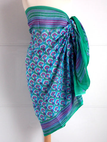 Peacock Sarong - Teal & Purple