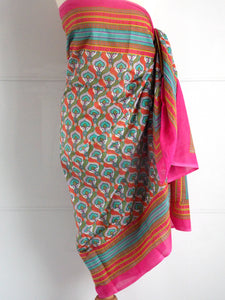Peacock Sarong - Pink - An Indian Summer