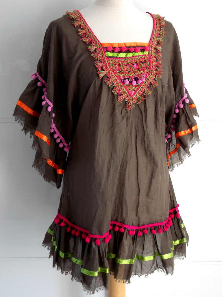 Adele Dress Brown | Tassels & Pom Poms | Cotton | An Indian Summer