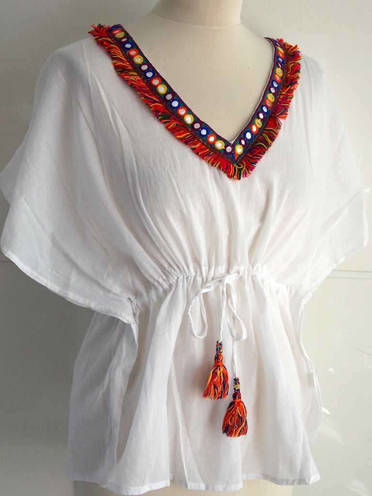 Aaina Top | Mirror Work, Tassels & Drawstring Waist | Cotton | An Indian Summer