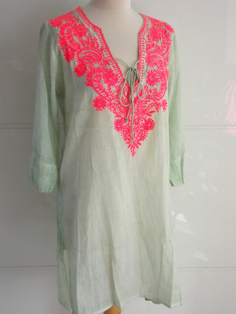 Chantilly Tunic | Pastel Green & Neon Pink Embroidery | Cotton | An Indian Summer