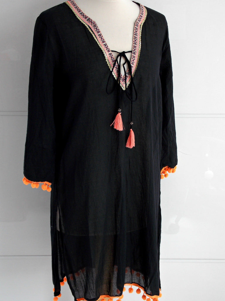 Sienna Tunic Black | Neon Tassels & Pom Poms | Cotton | An Indian Summer
