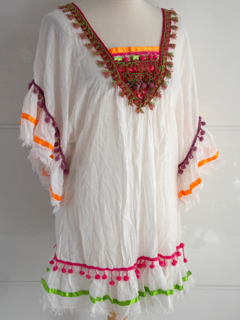 Adele Cover Up White | Tassels & Pom Poms | Cotton Voile | An Indian Summer