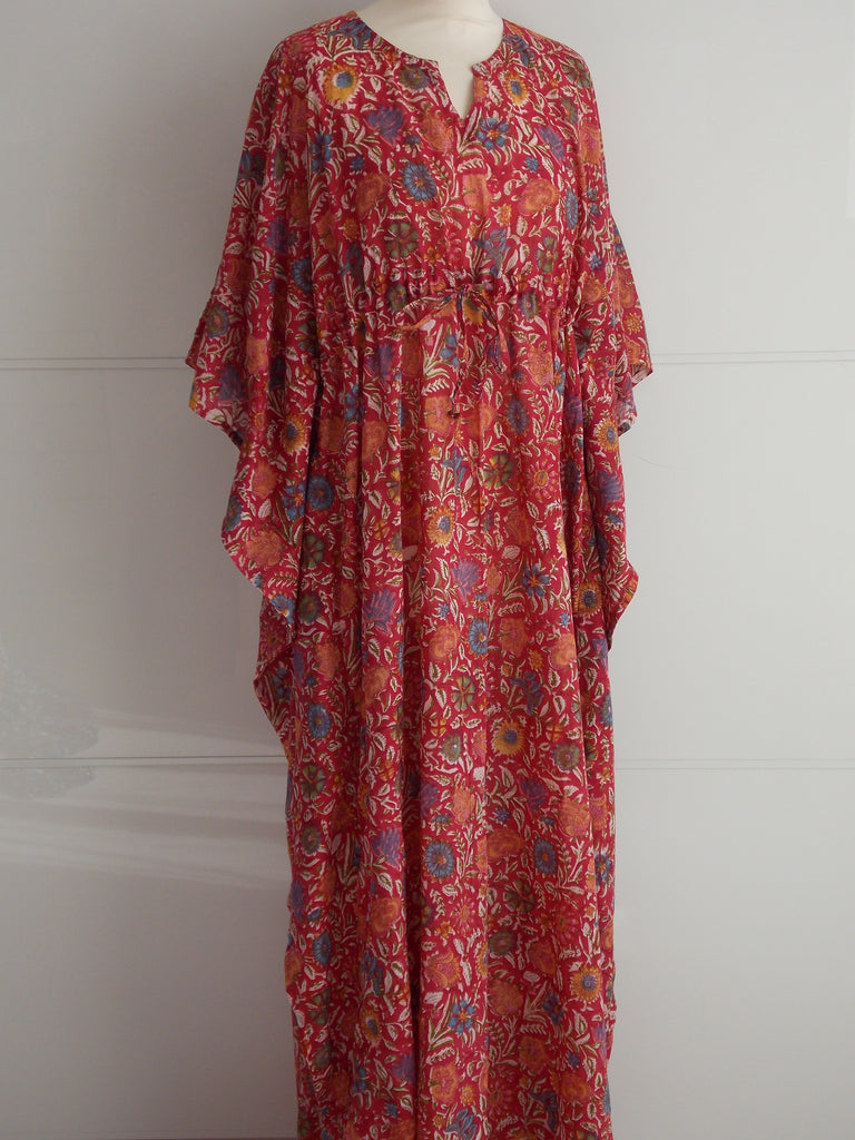 Red Spice Long Kaftan | Hand Block Printed Floral | Cotton | An Indian Summer