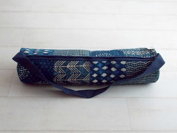 Indigo Dyed Medley Yoga Bag - Patchwork Squares - An Indian Summer