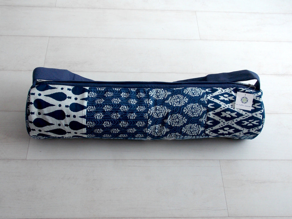 Blue Medley Yoga Bag - Patchwork Squares - Cotton - An Indian Summer