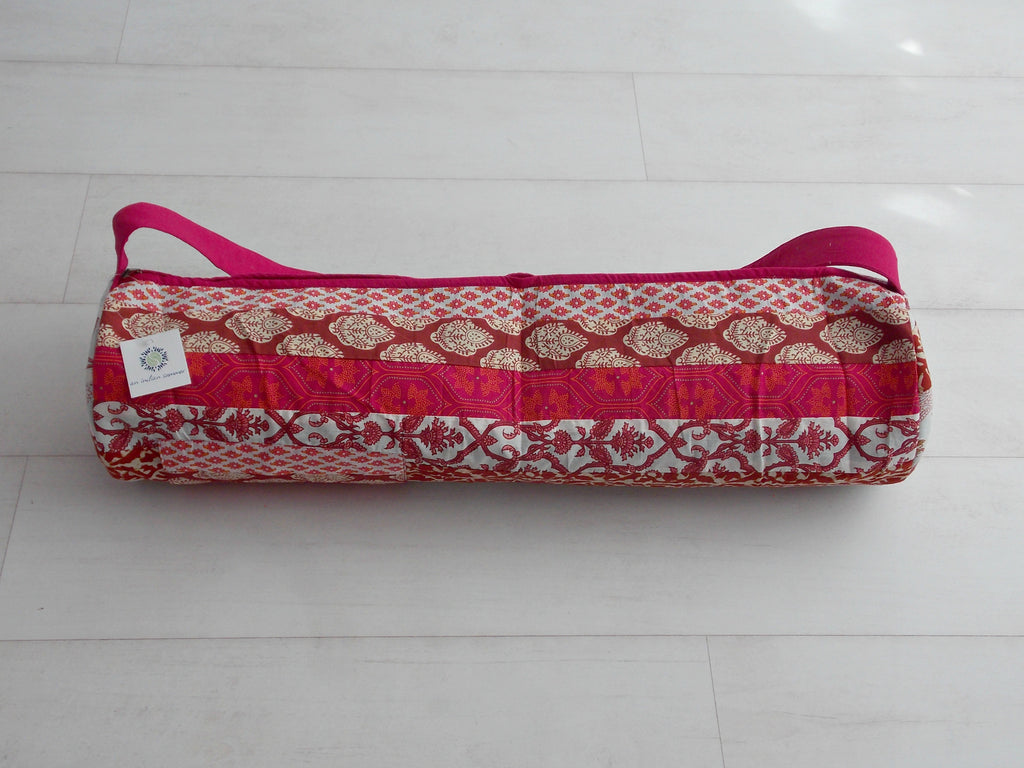 Red Medley Yoga Bag - Patchwork Stripes - Cotton - An Indian Summer