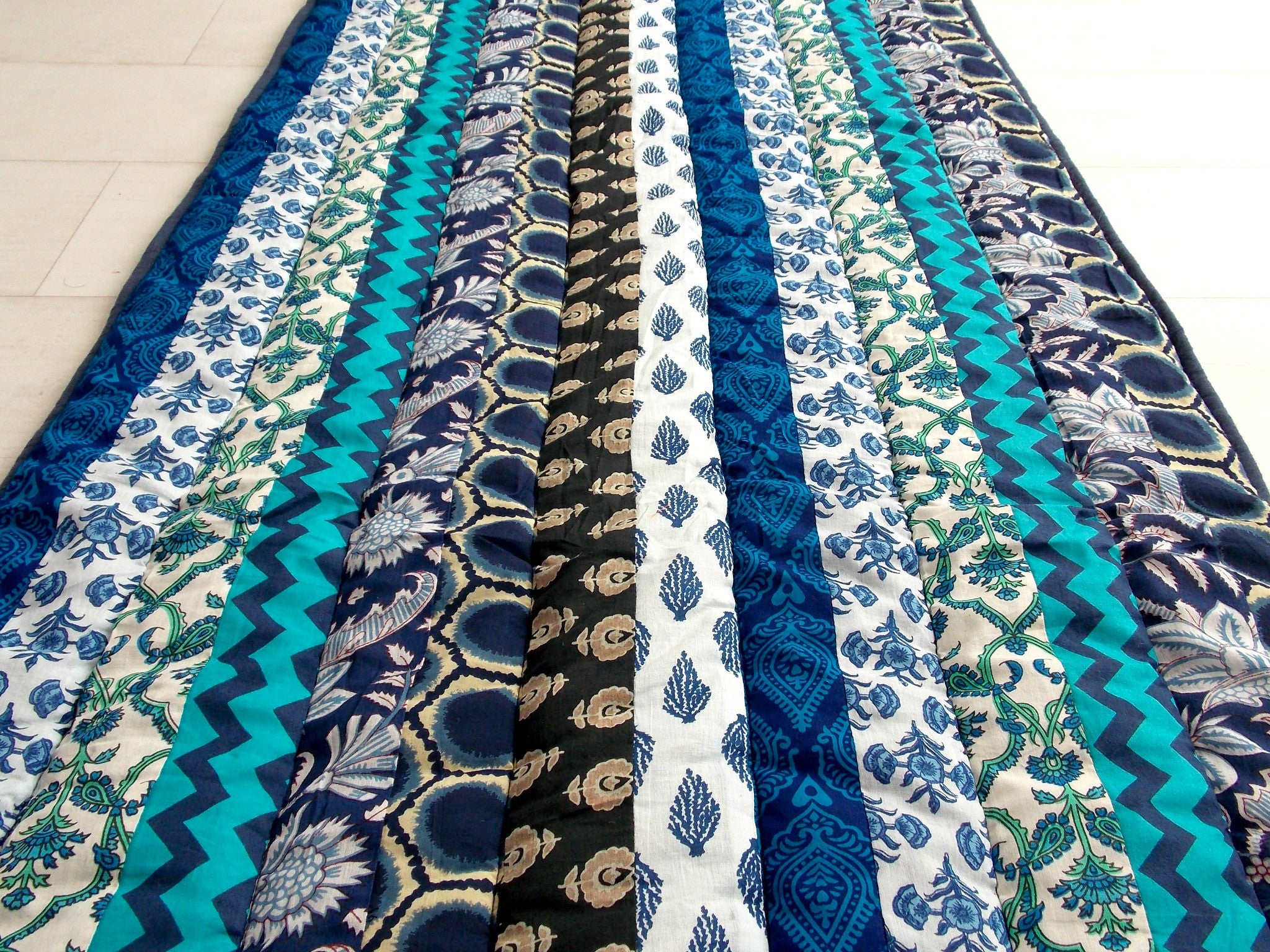 Teal Medley Yoga Mat - Patchwork Stripes - An Indian Summer