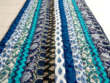 Teal Medley Yoga Mat - Patchwork Stripes - Cotton - An Indian Summer
