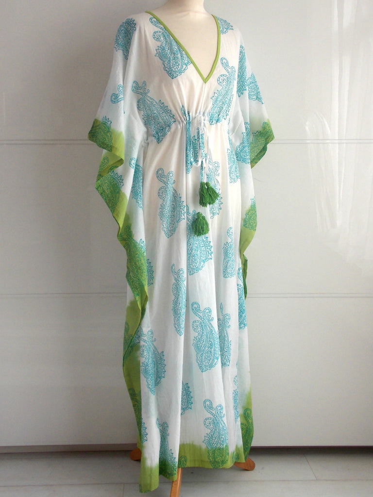 St Tropez Maxi Kaftan Paisley Pattern Block Print Turquoise & Lime | Hand Block Printed | Cotton | An Indian Summer