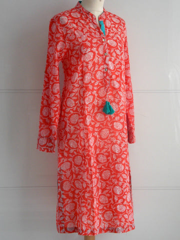 Blossom Tunic Dress - Coral
